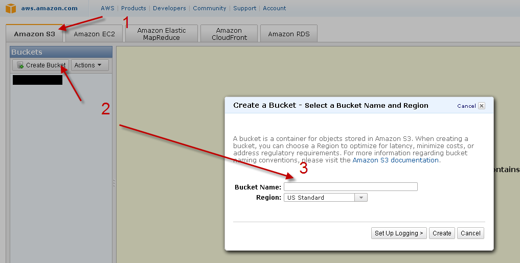 Amazon Bucket erstellen