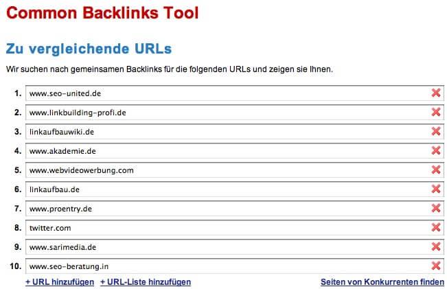 Common Backlink Tool Mitbewerber suchen
