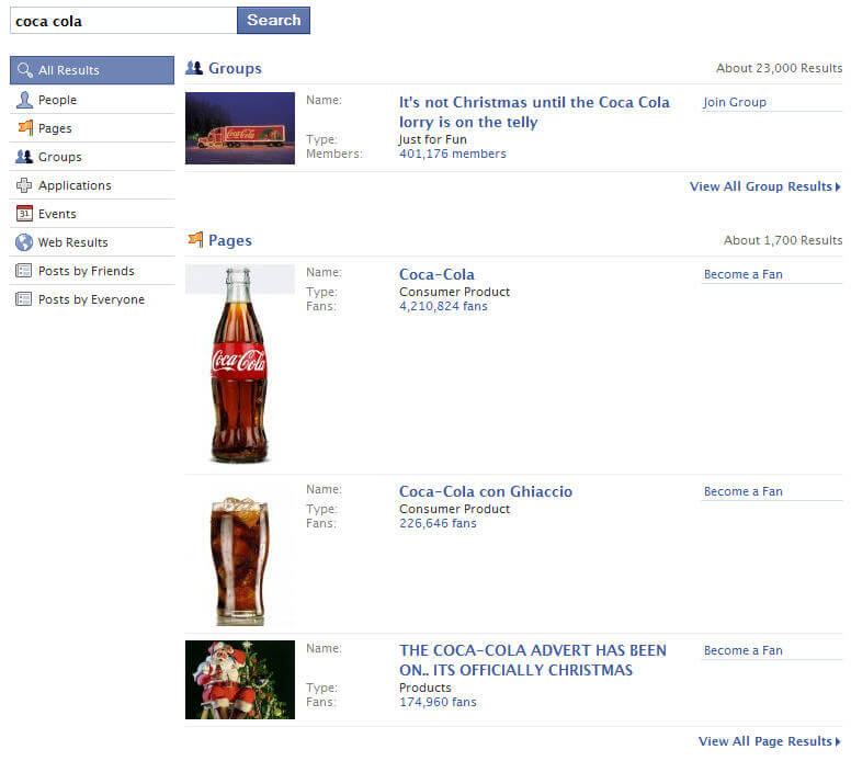 Facebook Coca Cola Search
