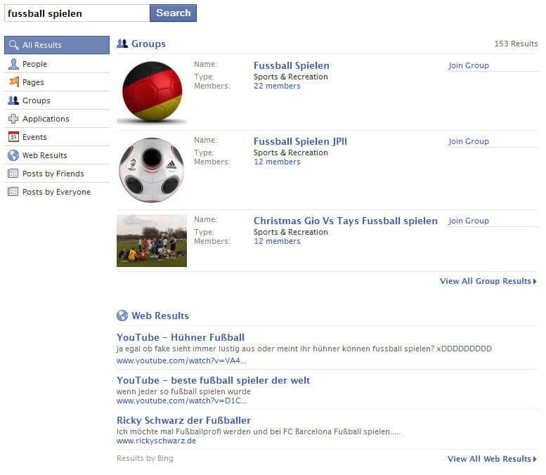 Facebook Fanpages Gruppen Suche