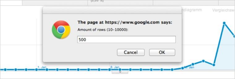 Google Analytics Export 500