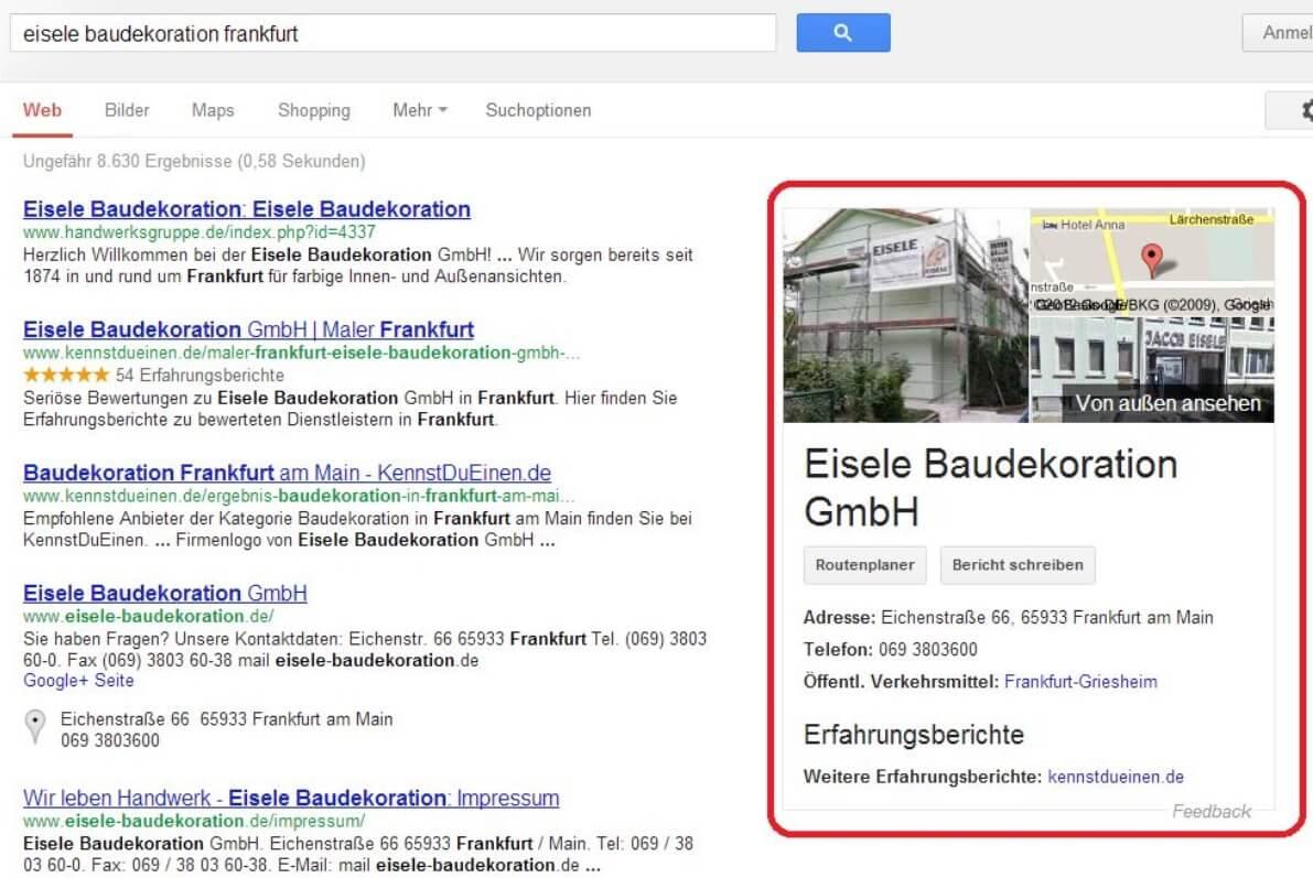 Google Knowledge Graph bei der lokalen Suche