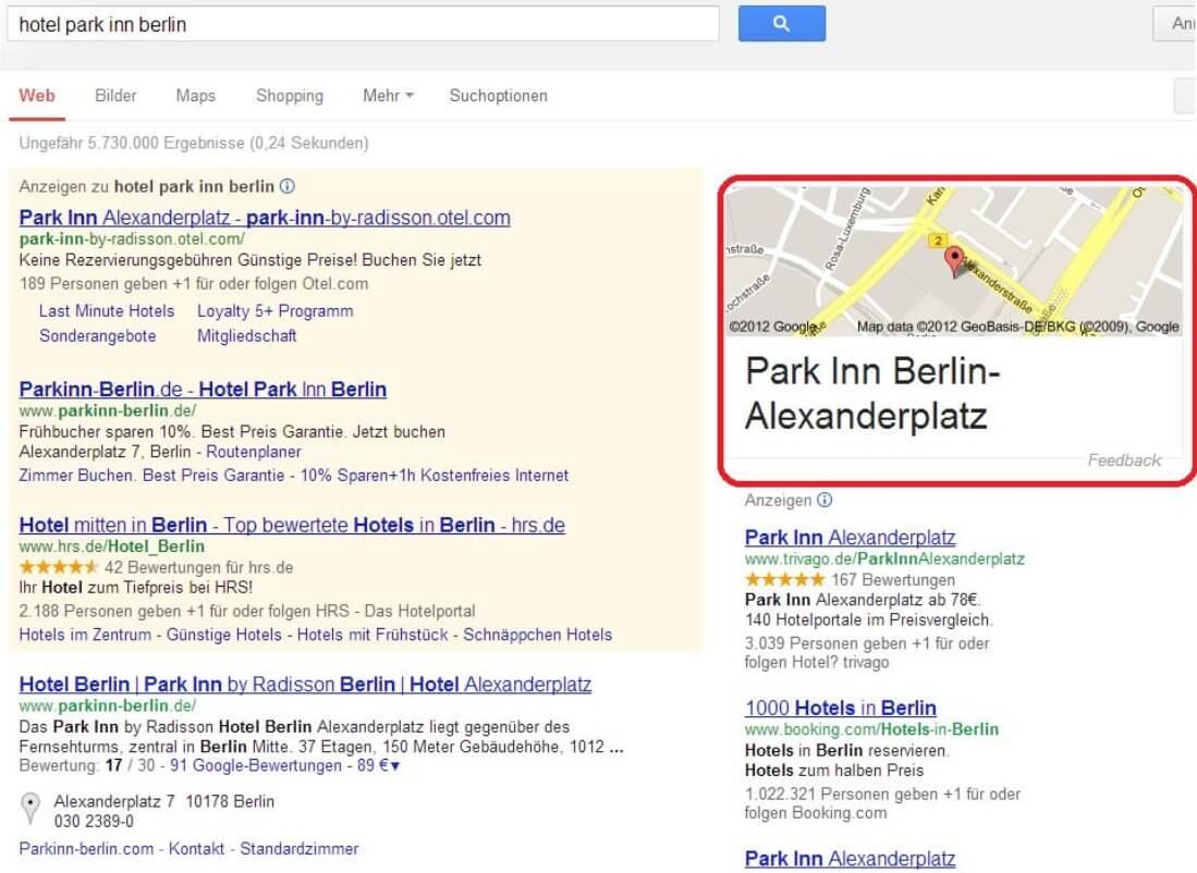 Google Knowledge Graph Park Inn Berlin