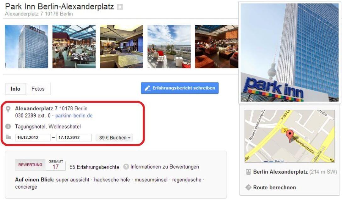 Google+ Local Eintrag Park Inn Berlin