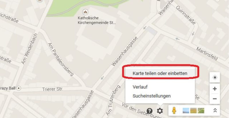 Google Maps Karte teilen