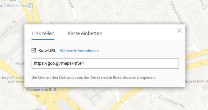 Google Maps Kurzurl
