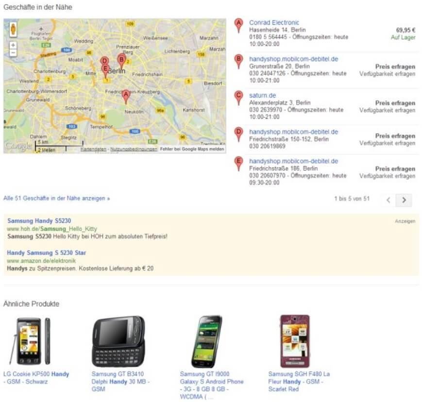 Google Shopping nahe Geschäfte