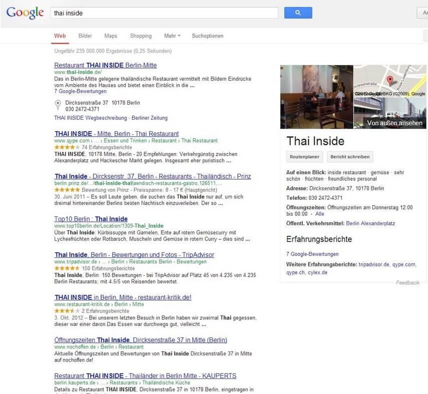 Guter Google Knowledge Graph bei der lokalen Suche