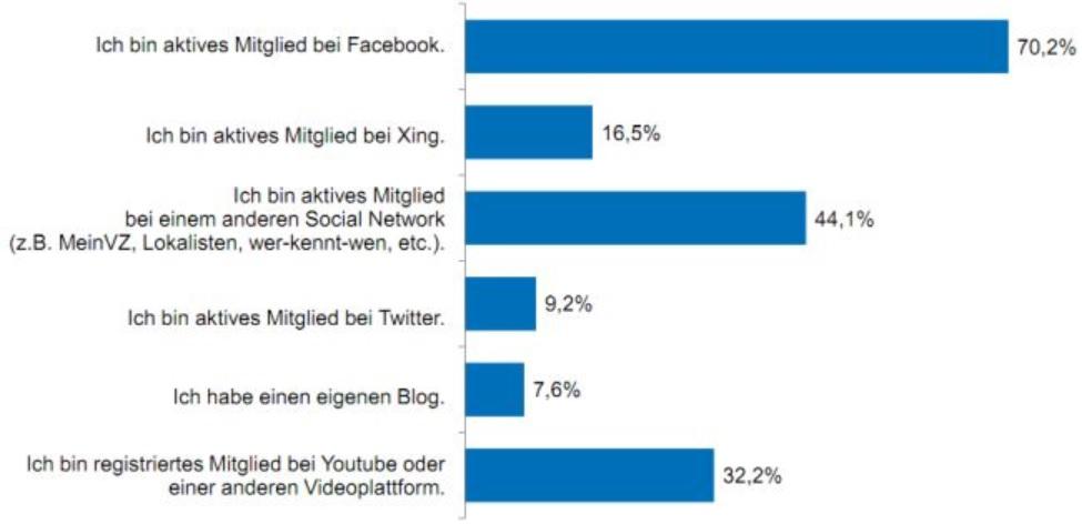 Häufig genutzte Social Media Plattformen
