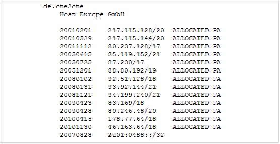 Host Europe Class-C Netze