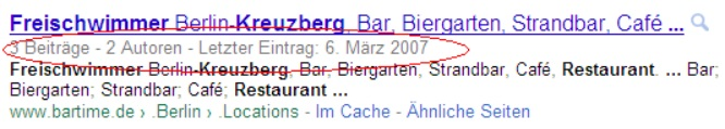 Rich Snippets Bartime