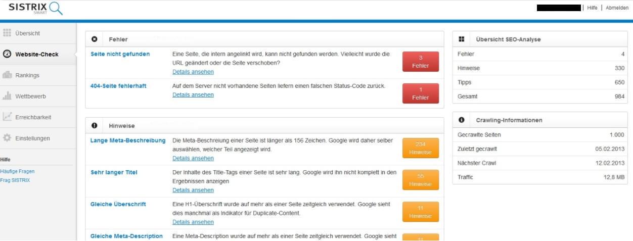Sistrix Smart Website Check