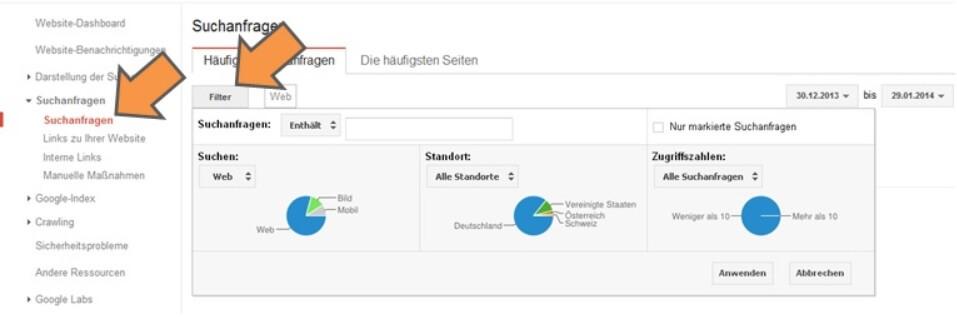 Webmaster Tools Suchanfragen filtern